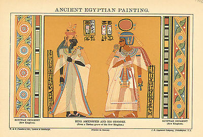 Egyptian, Ancient Paintings, King Amenophis, Vintage, 1906 Antique, Art, Print,