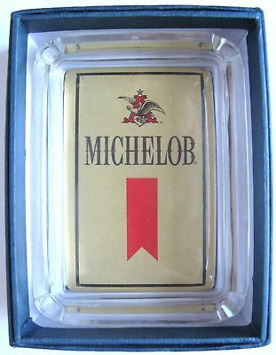 Michelob Beer Card & Glass Ashtray Key Ring Change Candle Tray , Paperweight NIB