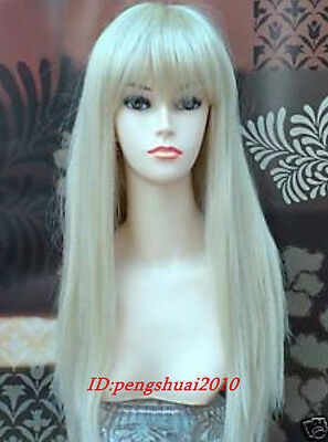 Hot Sell Long Platinum-Blonde Straight Women's Cosplay Heat Resistant Wig Wigs