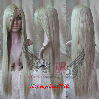 Chic Heat Resistant Long Platinum-Blonde Straight Cosplay Party Women's Wig Wigs
