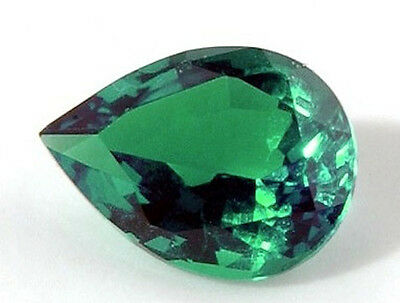 Pear Bright Bright Green Lab Created Hydrothermal Emerald (5x3 to 12x8mm)