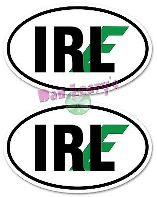 IRL-E Irish-Euro 2 pc Oval Decal Sticker Irish Auto