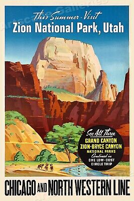 Visit Zion National Park 1950s Vintage Style Railroad Travel Poster - 16x24