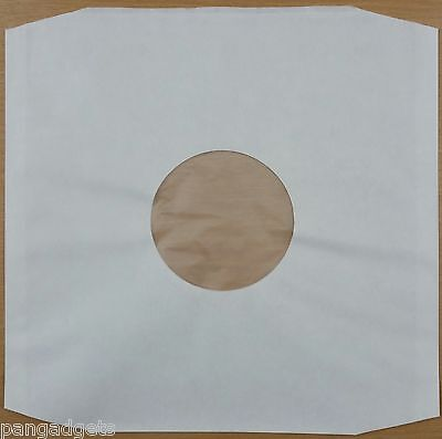 "12"" Polylined White Inner Paper Record Sleeves x 25"