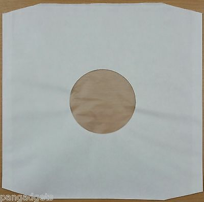 "12"" Polylined White Inner Paper Record Sleeves x 100"