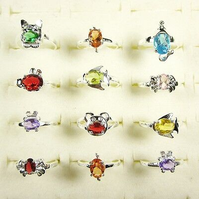 Wholesale Lots 925 Sterling Silver Plated Kids Gift Animal CZ Rings Size 4 To 6