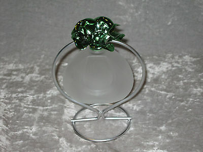 Unique Glass Oil Lamp Green Flower Wire Stand Flame Light Bottle NEW!