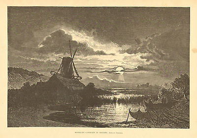 Holland, Windmill, Moonlight On The Water, Vintage, 1876 Antique, Art, Print,