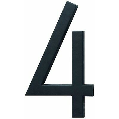"""6"""" Satin Black House Number 4 (Four) by Hy Ko FM-6/4"""