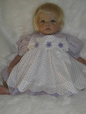 Lavender with White Dots Dress and Seperate Pinafore for Reborn Baby