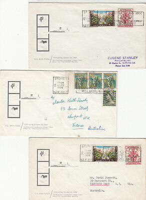 Olympic stamps Australia 1956 group of 3, 1st sailing ship S S MARIPOSA to USA