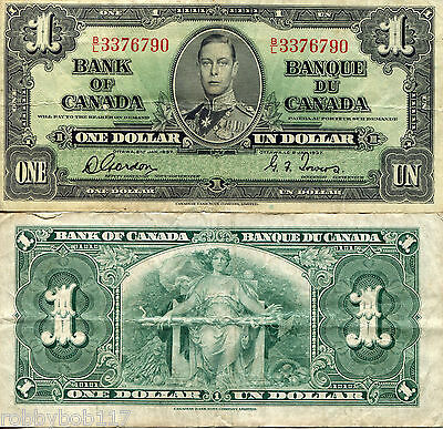CANADA 1 Dollar Banknote World Money Currency USED BILL Note p58c King George VI