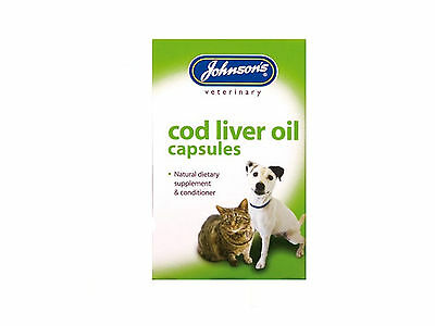 Johnsons Cod liver oil capsules,Supplement & Conditioner for Dogs cats Omega 3