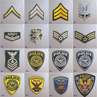 Military / Police Insignia Iron-on Embroidered Cloth Patch Badge Appliqué USA UK