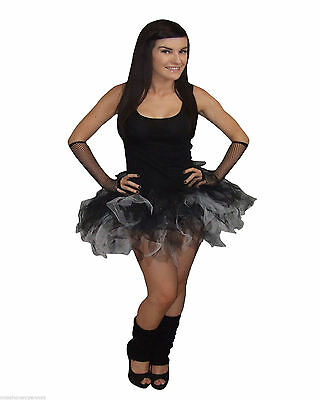 Neon Black White Tutu skirt Sparkle Halloween 80's Fancy Dress Hen Party Gothic