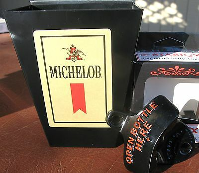 Michelob Beer Card & Cap Catcher & Bottle Opener  Sports Bar Set Pub  NEW in BOX