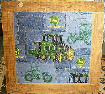 """**NEW** Country Style John Deere Barnboard Chicken Wire Wall Hanging - 21"""" x 21"""""""