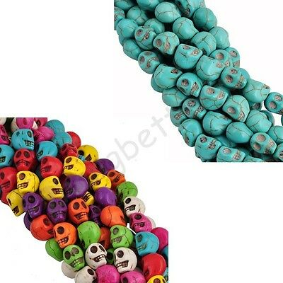 Wholesale Skull Colorful Turquoise Gem Spacer Loose Beads 10X9X8 mm & 12x10 mm