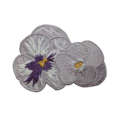 Iron on Pansy Flowers With Long Stem Applique Patch