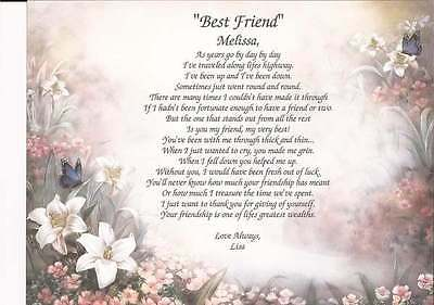 """Best Friend"" Personalized Poem Birthday Christmas Friendship Inspirational Gift"