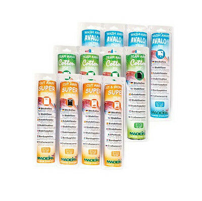 Madeira Machine Embroidery Stabilizer Tear Cut&Wash Away Ultimate Set 12 Rolls