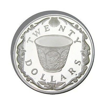 elf Br Virgin Isl 20 Dollars 1985 Silver Proof Cup