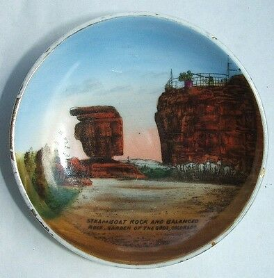 Beautiful COLORADO GARDEN of the GODS antique plate w/ STEAMBOAT & BALANCED Rock