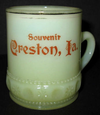Ornate & Original antique CRESTON IOWA souvenir CUSTARD GLASS mug