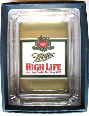 Miller High Life Beer Card Glass Ashtray  Key  Ring Coin Candle Tray Paperweight