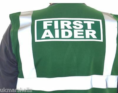 First Aider Hi Vis Waistcoat Yellow or Green Front/Back First Aid Hi Viz Vest