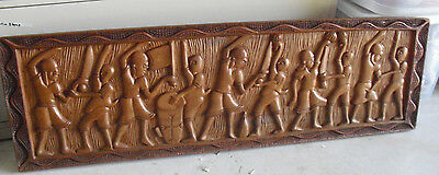BIG Vintage Hand Carved Wood Wall Plaque Ethnic Men and Women LOOK