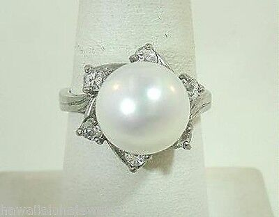 17mm 925SP 11mm South Seas White Mother of Pearl SeaShell Pearl CZ Ring