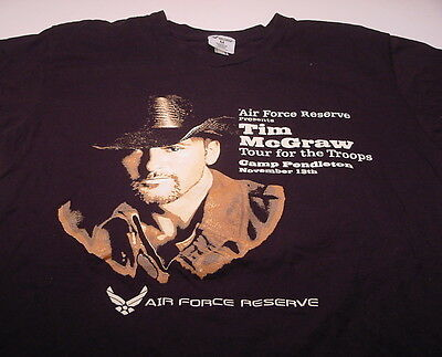 """TIM McGRAW """"Tour For The Troops"""" Air Force Reserve, Camp Pendleton CA (XL) Tee"""