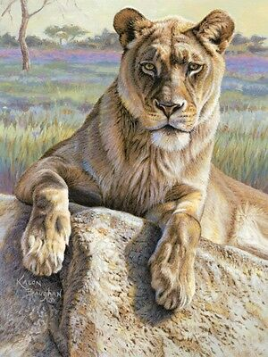 LION ART PRINT - Serengeti Lioness by Kalon Baughan 19x13 Wildlife Poster