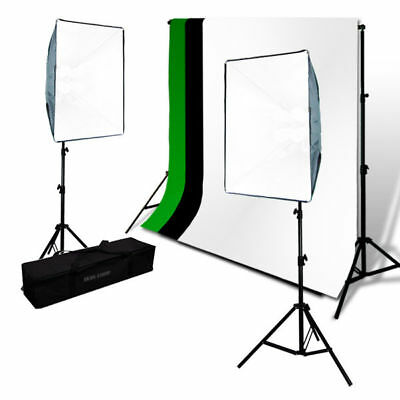 Chroma Key Screen Green and Black White Muslin Backdrop SoftBox Photo Lights Kit