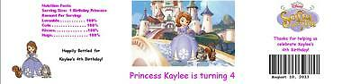 25 Princess Sofia the First Birthday  Water Bottle Label Favor Waterproof