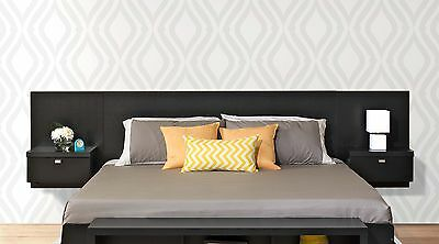 Series 9 Designer Wall Mounted King Headboard with 2 Night Stands - NEW