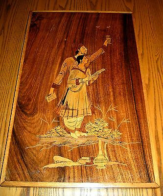Incredible Large PERSIAN Wood Marquetry- of Prince and Woman w/Instrument