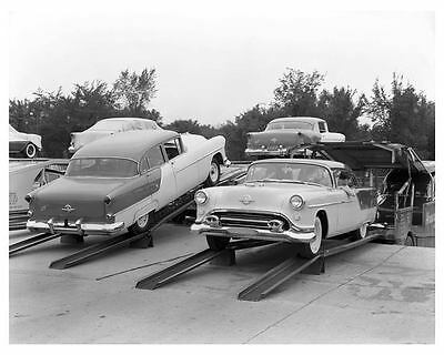 1954 Oldsmobile on Car Carrier Truck Factory Photo ch0799-24WKWE