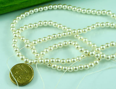 140pcs Pearl Beads 5mm Cream/Ivory Color Imitation Plastic Round Pearl Spacer
