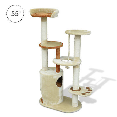 "Pawhut 55"" Kitty Cat Tree Scratching Post Condo Tower Pet House Furniture Beige"