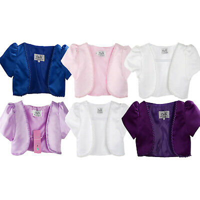 Satin Bolero available in White Pink Ivory Purple Lilac Blue 3-4 to 10-11 years