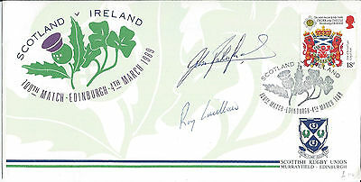 Rugby 1989 Cover Scotland V Ireland Signed Captains Rutherford & Laidlaw