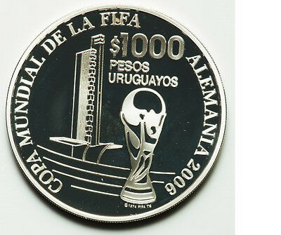 2005 Uruguay Large Silver Proof Soccer Germany $1000