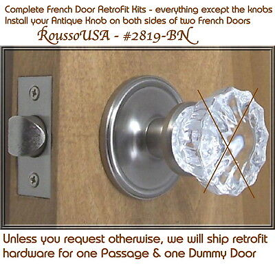 Finest Retrofit Set to install your Antique Door Knobs in Two French Doors