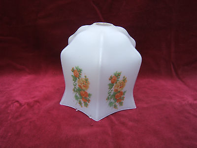 """Vintage lamp shade glass orange green flowers ceiling mounted 1"""" fixing 25mm LS2"""