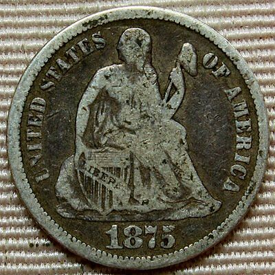 1875-CC Seated Liberty Dime * Above Bow * Nice Carson City Coin