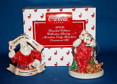 2006 Coca Cola Limited Collector's Society Members Only Porcelain Ornament Set