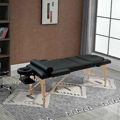"""Soozier 4"""" Thick Portable Reik Massage Table 3 Section w/ Bolster Pillow Black"""