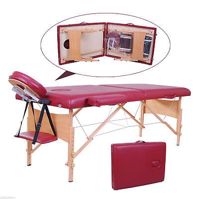 """Soozier 2.5"""" Pad 91"""" Portable Reiki Massage Table w/ Carry Bag Salon SPA Red"""